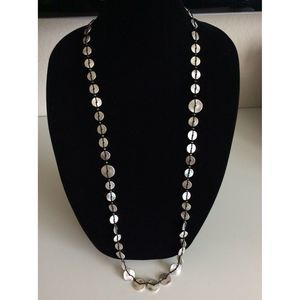 Chico's Silver Tone Black String Long Necklace